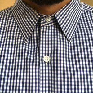 Theory Gingham Light Poplin Regular Fit Shirt XL